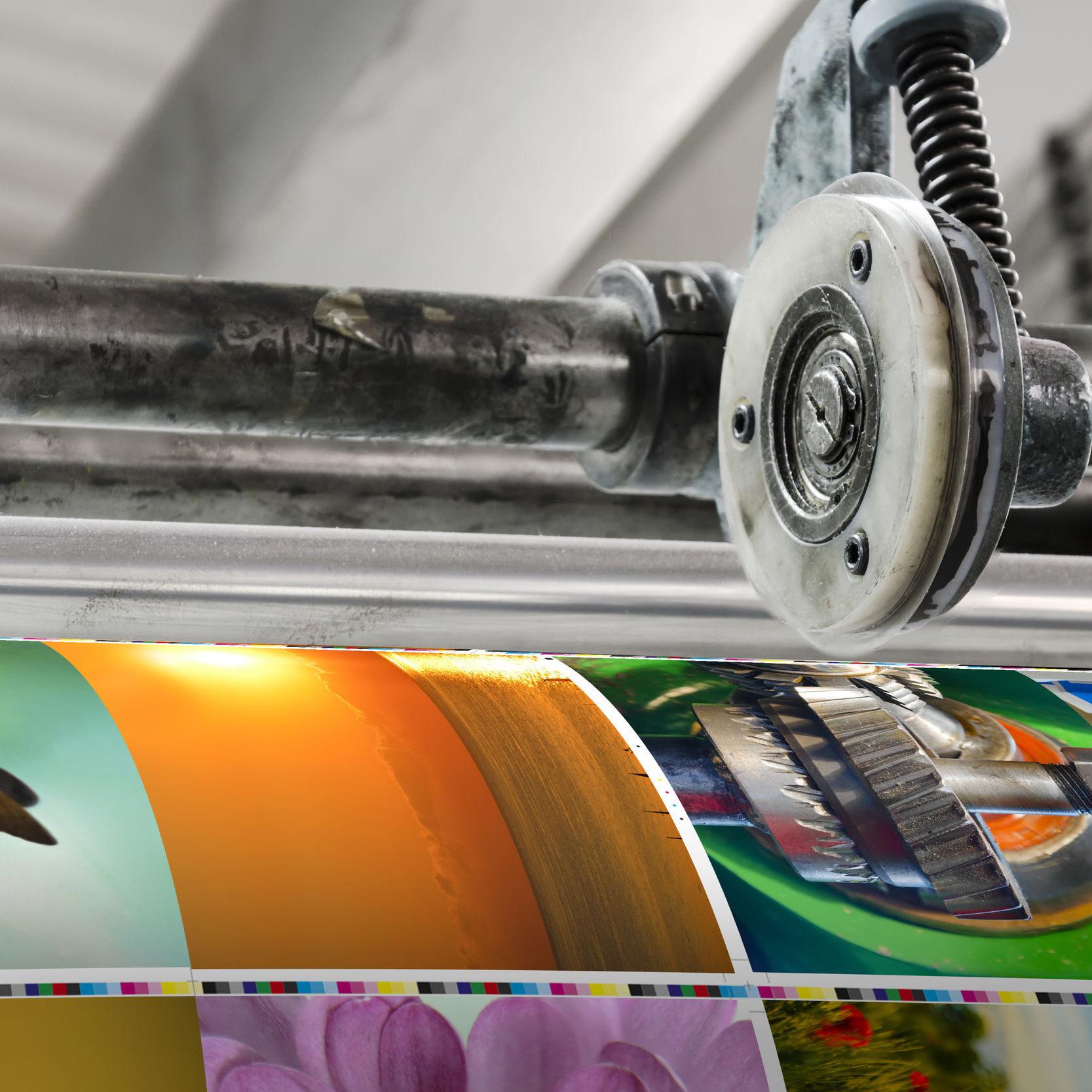 38588163 - magazine offset printing machine close up